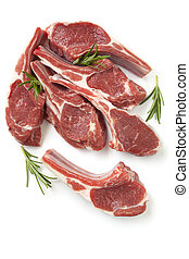 Raw Lamb Cutlets with Rosemary Isolated - Raw lamb cutlets...