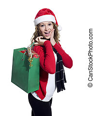 beautiful young woman holding shopping bag