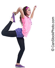 side view of  young woman stretching her legs