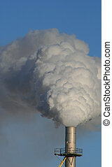 Environment - Huge plume of smoke coming from large tower at...