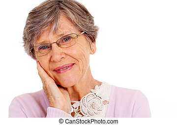 elderly woman headshot over white background