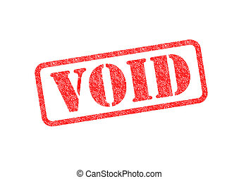 VOID - 'VOID' Red Stamp over a white background.