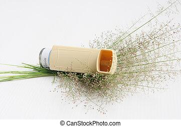 Asthma inhaler and flower grass - asthma inhaler and flower...
