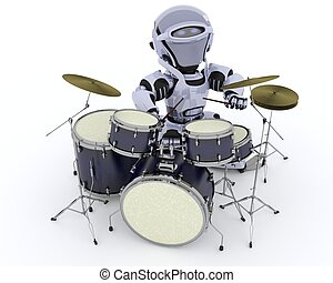 Robot with Drum Kit - 3D render of a Robot playing the drums