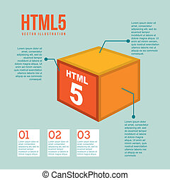 html 5 illustration with cube, vintage vector illustration