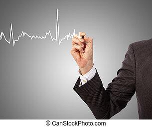 Medicine,hand drawing - Medicine, hand drawing heart graph