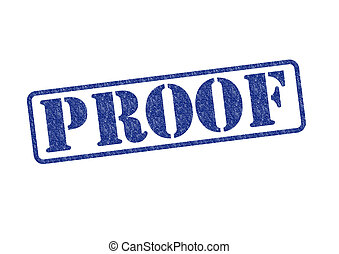 PROOF - PROOF blue rubber stamp over a white background