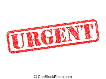 URGENT - URGENT red rubber stamp over a white background