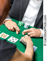 Competition between poker players. Challenge to the casino