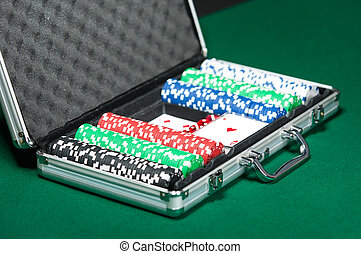 Poker set in silver suitcase