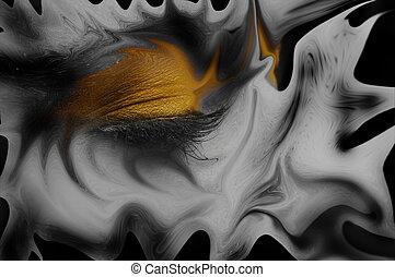 Closeup photo of a beautiful girl with yellow makeup