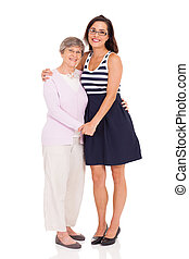 adult daughter and senior mother - happy adult daughter and...