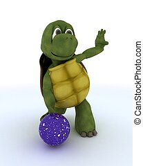 tortoise ten pin bowling - 3D render of a tortoise ten pin...