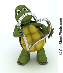 tortoise with heart charm