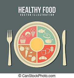 healthy food concept, vintage style. vector illustration