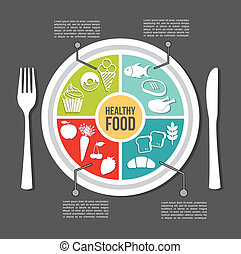 healthy food concept, vintage style vector illustration