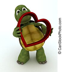 tortoise with heart charm - 3D render of a tortoise with...
