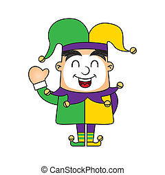 jester cartoon isolated over white background vector...