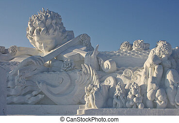 magnificent sculpture executed from the snow. Ice and Snow...