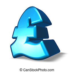 pound sterling symbol on white background - 3d illustration