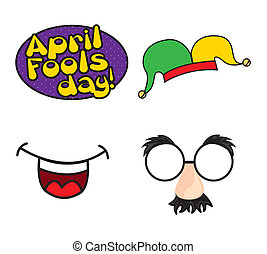 april fools day - april foods day illustration with elements...