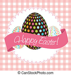 happy easter card, pink background. vector illustration