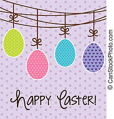 happy easter card, violet background. vector illustration