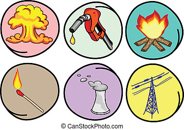 Six Forms of Energy on Round Background - Cartoon...