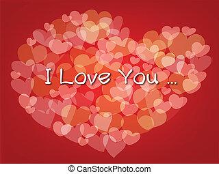 Coração, pequeno, grande, Fazer, FORMA, fundo, corações, vermelho
