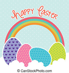 happy easter card with eggs and rainbow. vector illustration