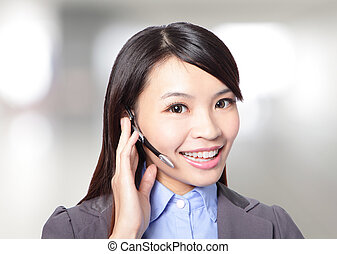 woman customer support operator with headset - close up of...