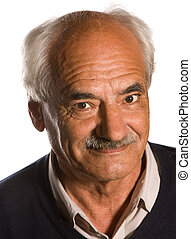 senior with mustache - Elderly senior with mustache on white...