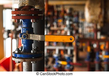 Industrial valve at gas distributing station