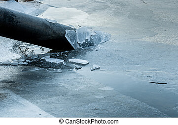 Toxic waste polluting fresh water at winter