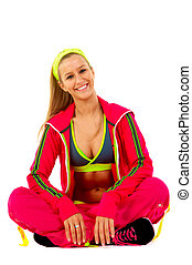 Young female fitness instructor on white isolated background