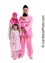 malay family during hari raya isolated on white