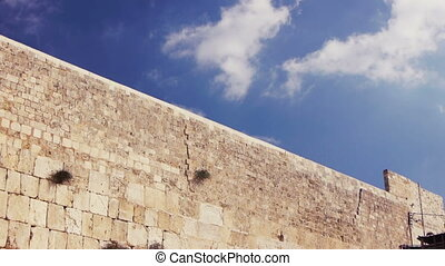 Western wall in Jerusalem, Time lapse with running clouds