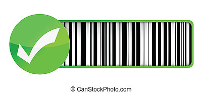 checkmark barcode UPC illustration design over a white...