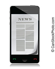 reading news on touch screen phone illustration design over...