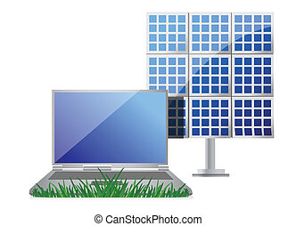 green it concept with laptop and solar cell panel...
