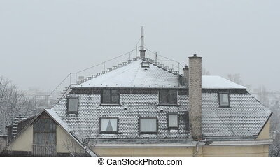House in the cold winter