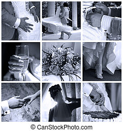 Collage of nine wedding photos in gentle - blue tone