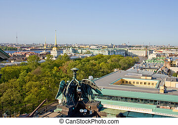 The view from the heights on the colonnade of St. Isaac's Cathedral of St. Petersburg. Russia.