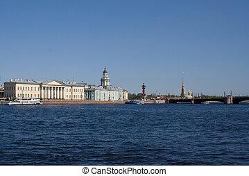 movable bridges on the River Neva. View of the Petrov Palace and Kunstkammer. St. Petersburg. Russia.