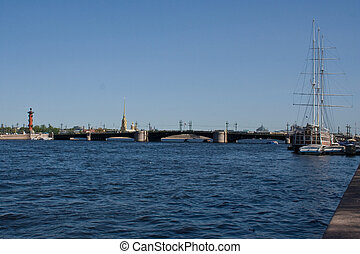 movable bridges on the River Neva and Petrovs Palace St...