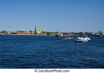 Neva River. View Peter and Paul Fortress and the Palace of Petrov. St. Petersburg. Russia.
