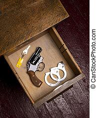 38, revólver, escrivaninha, Gaveta, algemas