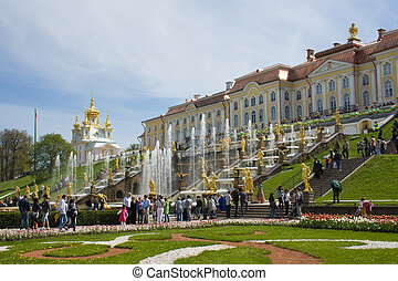 The well-known cascade of fountains of Peterhof. St....