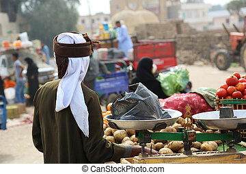 Vegetable Seller Luxor - a vegetable seller on the saturday...
