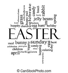 Easter Word Cloud Concept in Black and White - Easter Word...